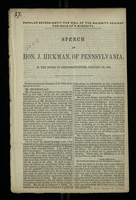 Speech of Hon. J. Hickman, of Pennsylvania, in the House of Representatives, January 28, 1858