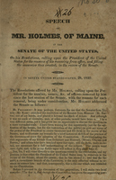 Speech of Mr. Holmes, of Maine, in the the Senate of the United States