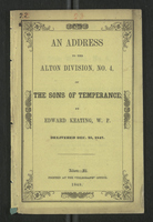 An Address to the Alton Division, No. 4, of the Sons of Temperance