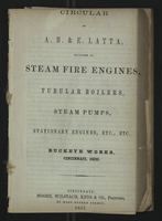 Circular of A. B. & E. Latta, Builders of Steam Fire Engines, Tubular Boilers, Steam Pumps, Stationary engines, Etc., Etc.