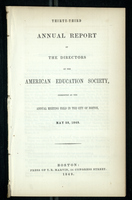 Thirty-Third Annual Report of the Directors of the American Education Society