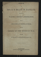 Speech of Hon. R. M. McLane, of Maryland, on the Bill to Supply Deficient Appropriations