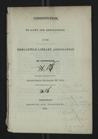 Constitution, By-Laws and Regulations, of the Mercantile Library Association of Louisville
