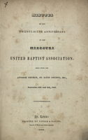 Minutes of the Twenty-Sixth Anniversary of the Missouri United Baptist Association