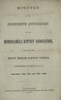 Minutes of the Fouteenth Anniversary of the Monongahela Baptist Association