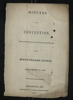 Minutes of a Convention held October 8th, 9th and 10th, Inclusive, 1853, With Mount Gillead Church