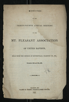 Minutes of the Thirty-Fourth Annual Meeting of the Mt. Pleasant Association of United Baptists