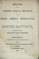 Minutes of the Fourth Annual Meeting of the North Liberty Association of United Baptists