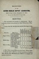 Minutes of the Oxford Regular Baptist Association