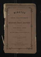 Minutes of the 150th Anniversary of the Philadelphia Baptist Association