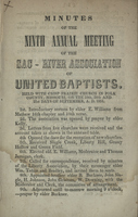 Minutes of the Ninth Annual Meeting of the Sac - River Association of United Baptists