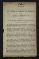 Speech of Hon. John S. Phelps, of Missouri, on the Kansas Election