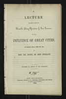 A Lecture Delivered Before the Mercantile Library Association of San Francisco