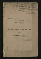 [Anti-Slavery] Thoughts on the Proposed Annexation of Texas to the United States