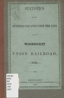Statistics of the business located upon the line of the Woonsocket Union Railroad