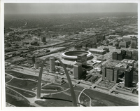 Aerial Picture of Gateway Arch and Busch Memorial Stadium