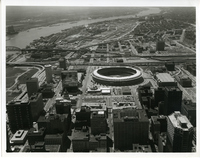 Aerial Picture of Busch Memorial Stadium and Mississippi River
