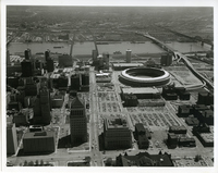 Aerial Picture of Gateway Arch and Riverfront Area