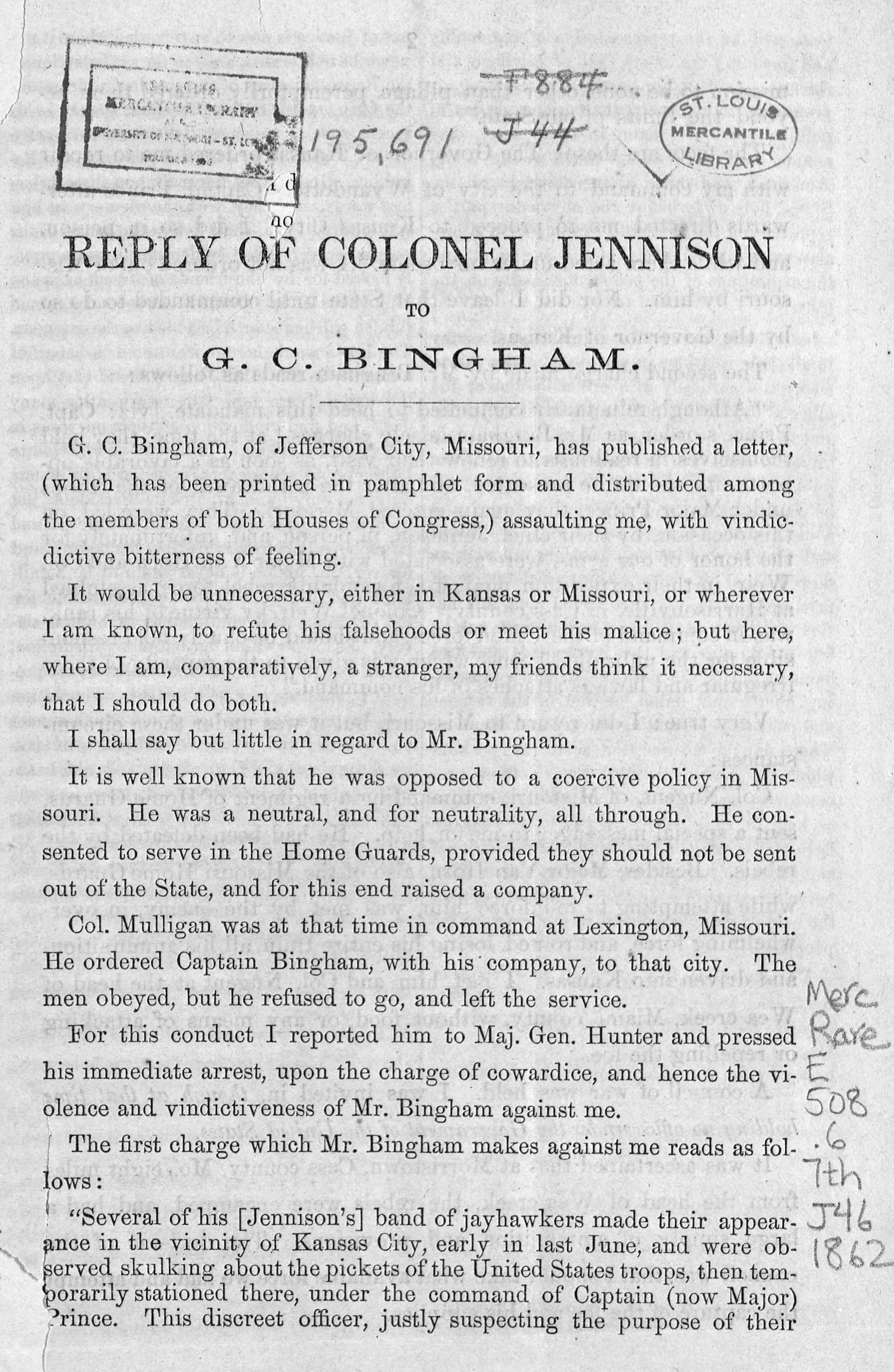 Reply of Colonel Jennison to G.C. Bingham